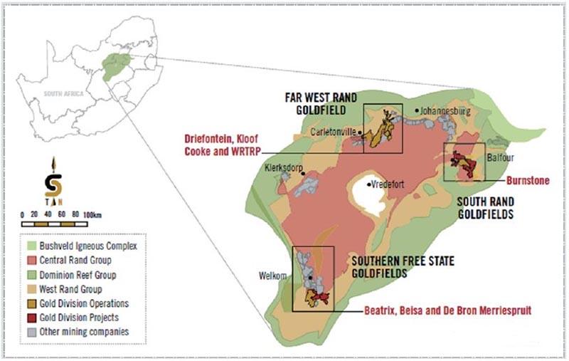 Sibanye Gold mines distribution